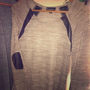Super stylish brown sweater top with elbow patch